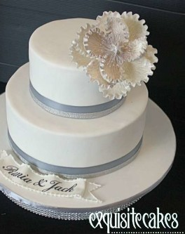 Formal wedding cakes exquisite cakes sydney lilly white 2 tier wedding cake with white pearled peonie junglespirit Choice Image