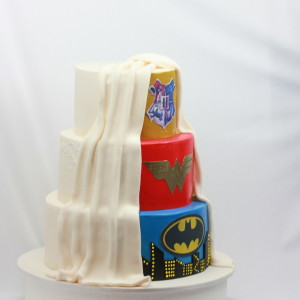 Super Hero/Wedding combined themed Cake