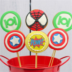 Avengers cookie pops