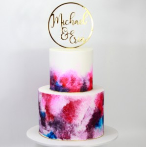 Bright watercolour engagement cake