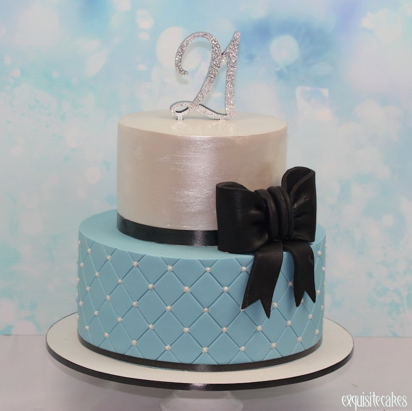 21ST CAKE BLUE AND BOW
