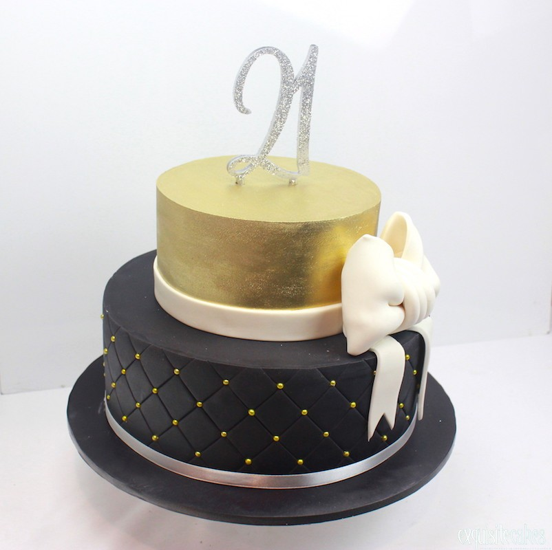 21st Gold And Black 2 Tier 21ST FRANGIPANI CAKE