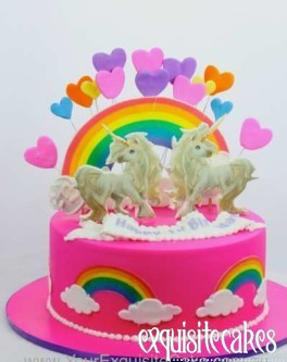 RAINBOW TWIN UNICORN BIRTHDAY CAKE