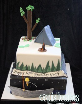 CAMPING THEMED 2 TIER CAKE