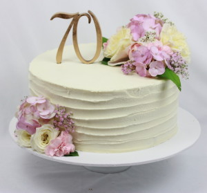 Single tier 70th Birthday Cake- Rustic Style